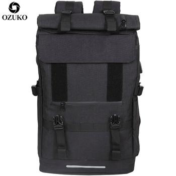 OZUKO nowy plecak podróżny 40L o dużej pojemności męski plecak na laptopa USB plecak dla nastolatków wielofunkcyjny plecak podróżny męski tanie i dobre opinie NYLON Miękki uchwyt Tłoczenie Rama zewnętrzna None Poduszka powietrzna pas Moda bl556x36 Poliester Ił kieszeń Zipper hasp