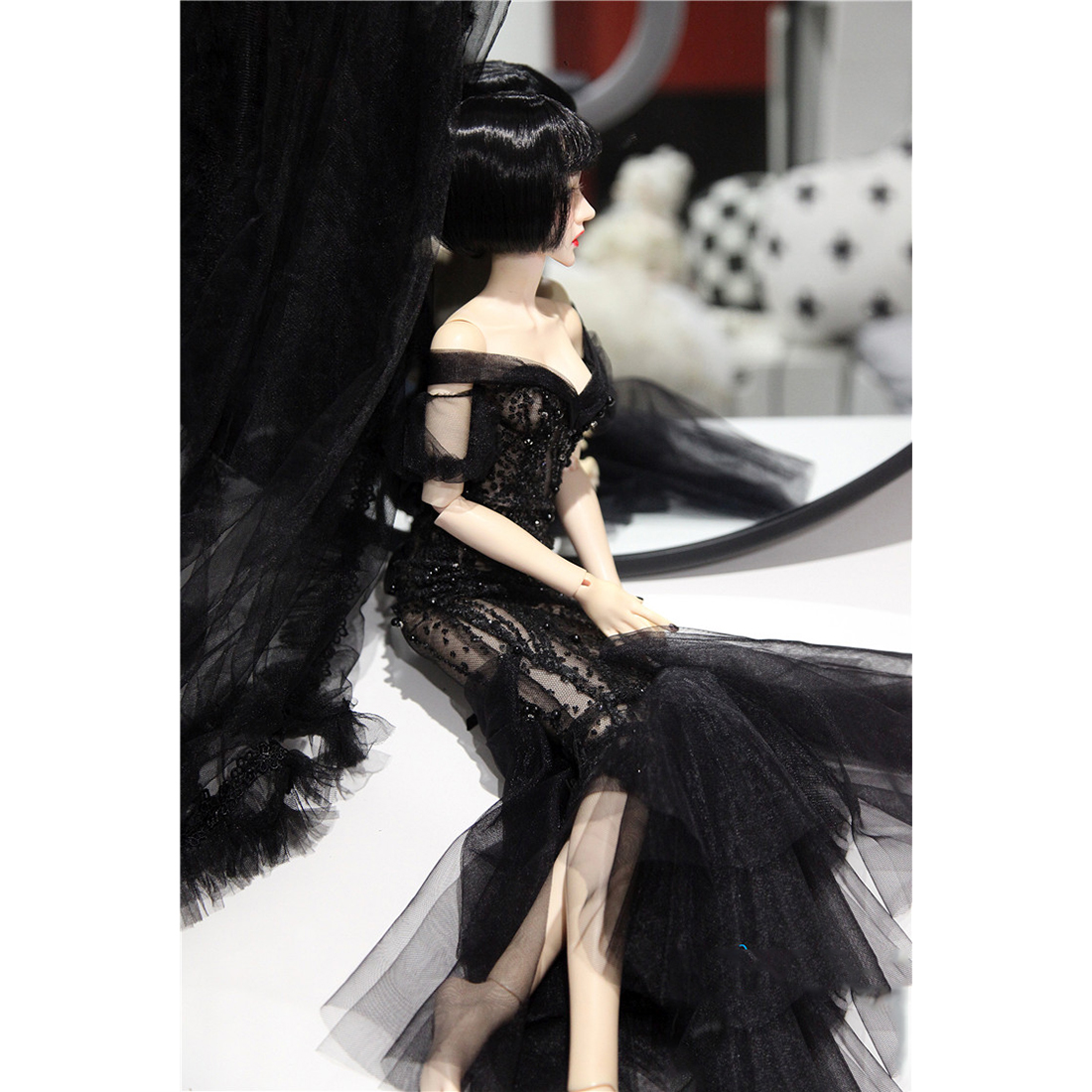 Wedding Dress Clothes Doll Accessories For 1/3 1/4 1/6 BJD Dolls - Black No Doll