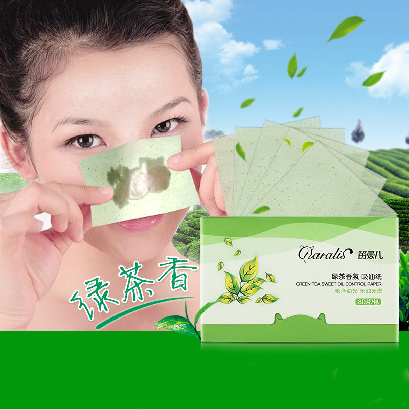 80pcs Cute Beauty Makeup  Facial Absorbent Paper Oil Cleanser Control Wipes Green Tea Absorbing Matcha Oily Face Blotting Tissue