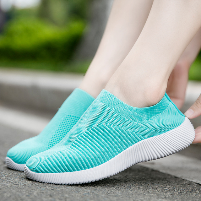 Rimocy breathable air mesh autumn 2019 flat heels sneakers women casual slip on stretch knitted sock platform shoes woman flats