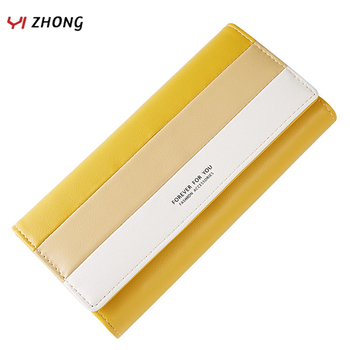 YIZHONG Leather Candy Women Wallets Trifold Large Capacity Card Holder Purse Female Luxury Wallet Long Clutch Purses Carteras bentoy embroidery candy women clutch wallet hologram zipper leather wallet female metallic purse large organize bank card holder