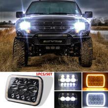 цена на For Jeep Wrangler 500W 30000LM 7 Inch LED Headlights 5X7/7X6 Led Beam Headlamp Led Headlight Angel Eyes with Halo