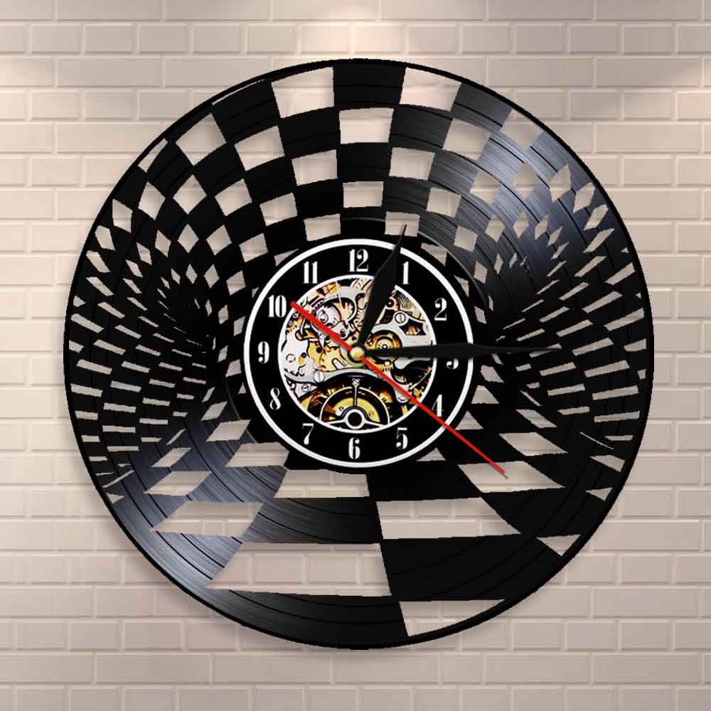 Black And White Chess Board Wall Clock Checkers Vintage Vinyl Record Wall Clock Checkers Wall Decor Gift For Chess Lovers