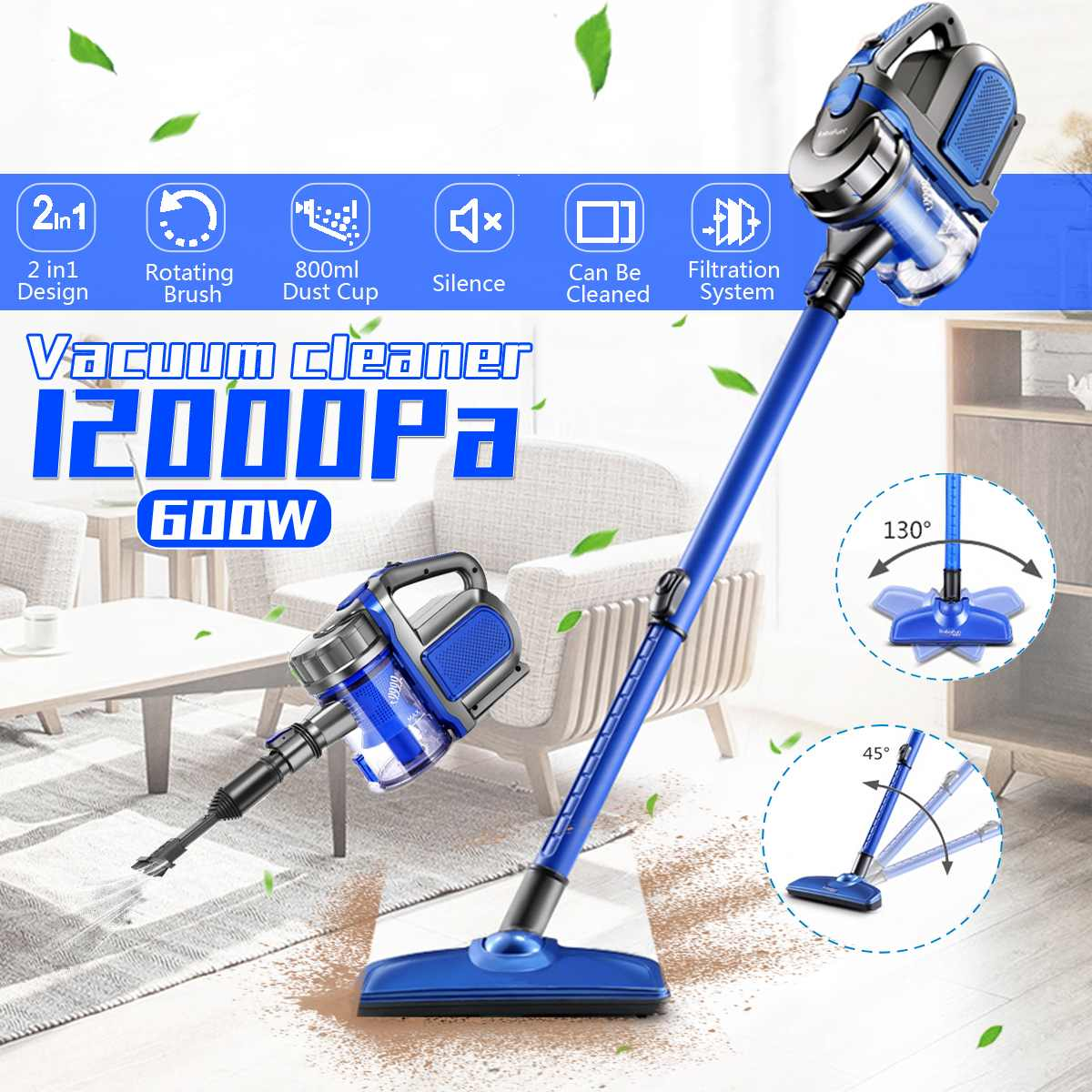 12000Pa Protable 2 In 1 Handheld Cordless Vacuum Cleaner Strong Suction Dust Collector Stick Aspirator Handheld Vacuum Cleaner