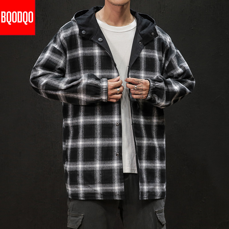 Japanese <font><b>Winter</b></font> Plaid <font><b>Military</b></font> Long <font><b>Jacket</b></font> For Men Autumn Fashion Streetwear Loose <font><b>Jackets</b></font> Coat Black Hip Hop <font><b>Style</b></font> Windbreaker image