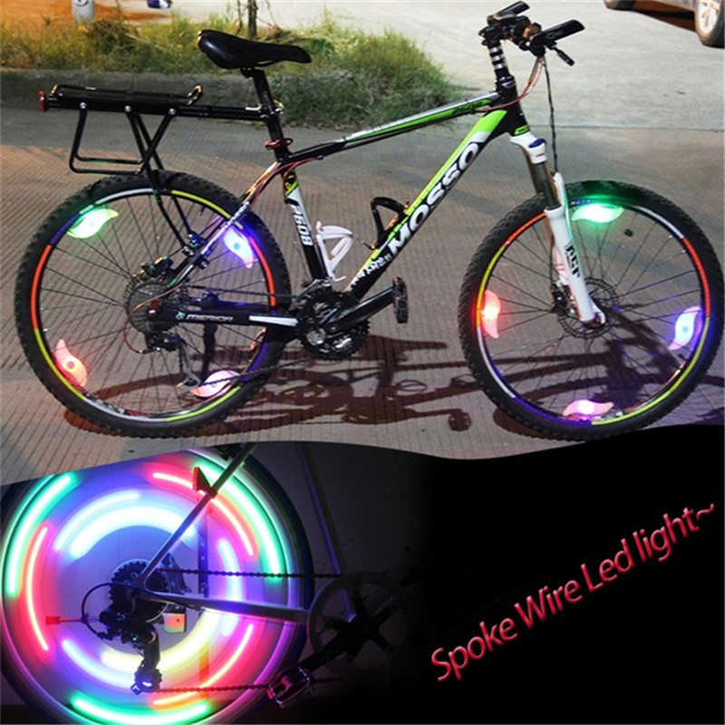 Bicycle Spokes Light With Battery Mountain Bike Led Light Safety Bike Wheel Lights Three Mode Bicycle Flash Lights Cycling Parts