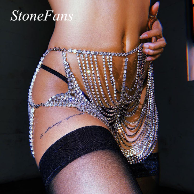 Stonefans Hollow Shiny Rhinestone Waist Hip Body Chain for Women Sexy Crystal Skirt Bikini Belly Jewelry Nightclub Underwear
