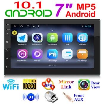 2 Din Android 10.1 Radio samochodowe multimedialny odtwarzacz wideo podwójne Stereo GPS nawigacja WIFI odtwarzacz Bluetooth AUX Auto Stereo 7 cali
