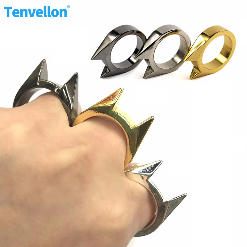 3pcs Self Defense Supplies Women Men Safety Defense Finger Ring EDC Stainless Steel Ring Finger Defense Ring Tool Self Defense
