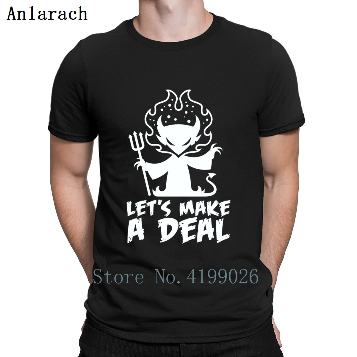 Deal With The Devil T Shirt Short Sleeve Funny Casual Round Neck Customized Interesting Spring Autumn Trend Homme Shirt image