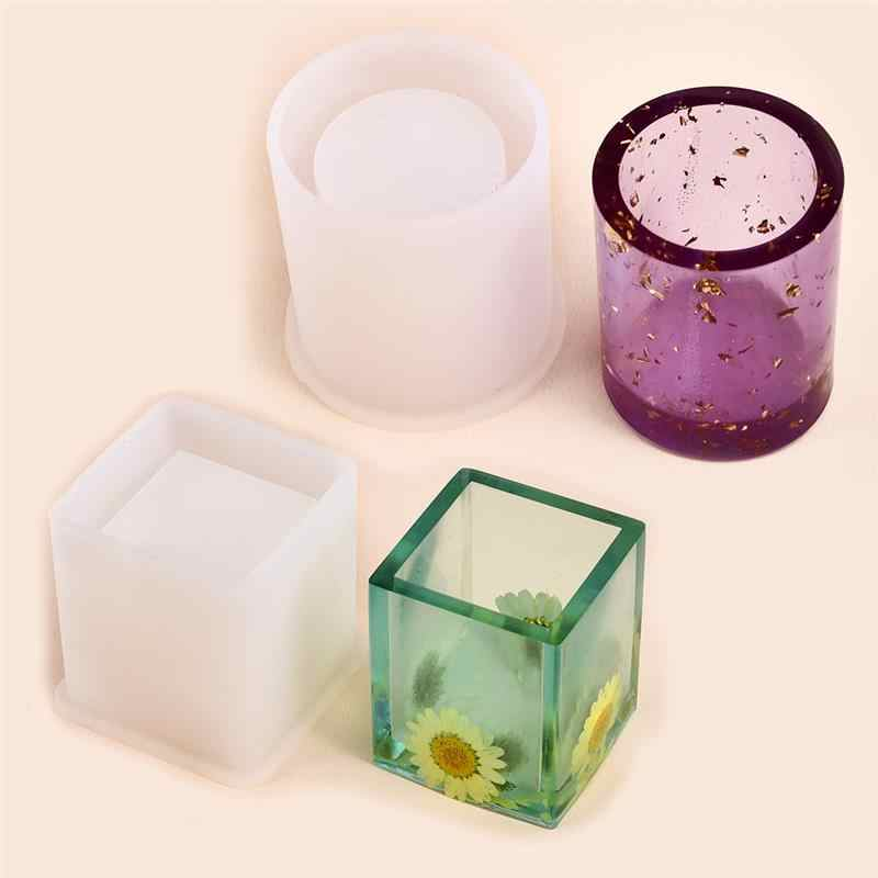 Silicone Mould Epoxy Resin Craft Dried Flower Casting Making Mold Pot Brush DIY