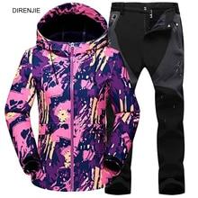 цена Woman Winter Fleece Warm Trekking Fishing Climbing Freeship Waterproof Jacket SoftShell Pants Sports Camping Hiking Trousers Set онлайн в 2017 году