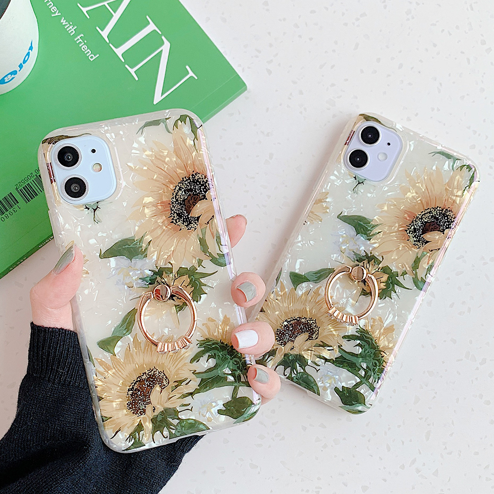 LOVECOM Retro Floral Ring Stand Phone Case For iPhone Models 45