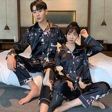 Young Lover Pajamas Fake Silk Women Long-sleeved Spring Summer Pyjama Loose Men Couple Pijama Set Warm Sleepwear Top+ Men Pant