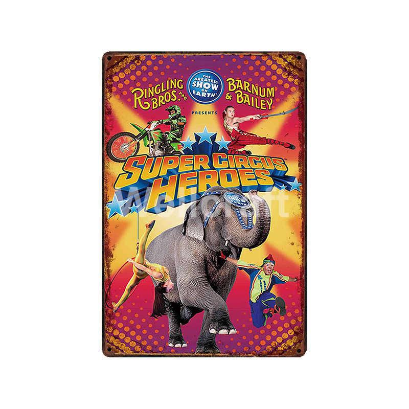 [WellCraft] السيرك الأسد الفيل النمر المهرج الحصان معدن القصدير تسجيل الملصقات خمر اللوحة مخصص ديكور LT-1899