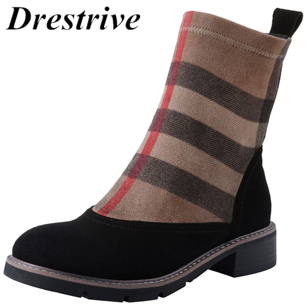 Drestrive Women Ankle Boots Kid Suede Low Heels 3.5 cm Non Slip Spring Patchwork Platform Striped Lattice Black Female Winter