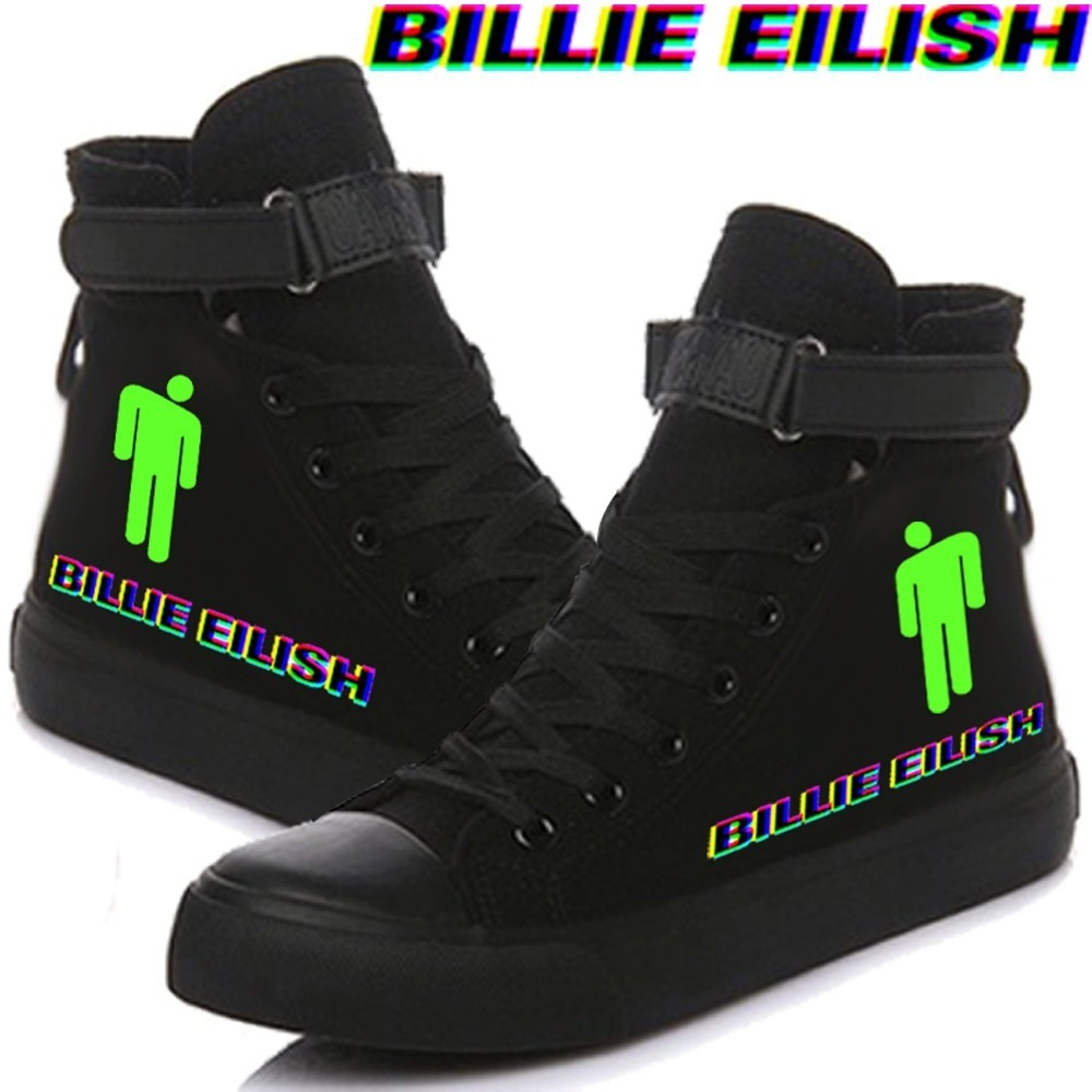 Billie Eilish Canvas Shoes For Women Causal High Heel Fashion Sneakers Lovers Shoes Lace Up Spring Women Shoes Print Sneaker