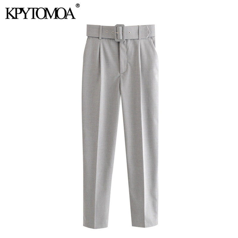 KPYTOMOA Women 2020 Chic Fashion Office Wear With Belt Pants Vintage High Waist Pockets Female Ankle Trousers Pantalones Mujer
