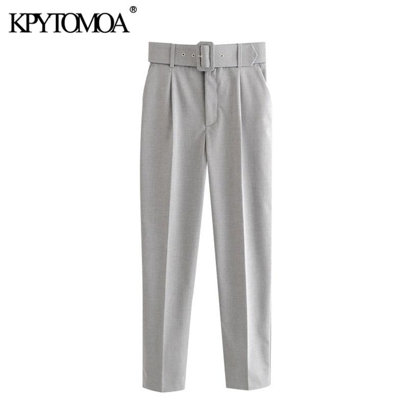 KPYTOMOA Women 2020 Chic Fashion Office Wear With Belt Pants Vintage High Waist Pockets Female Ankle Trousers Pantalones Mujer