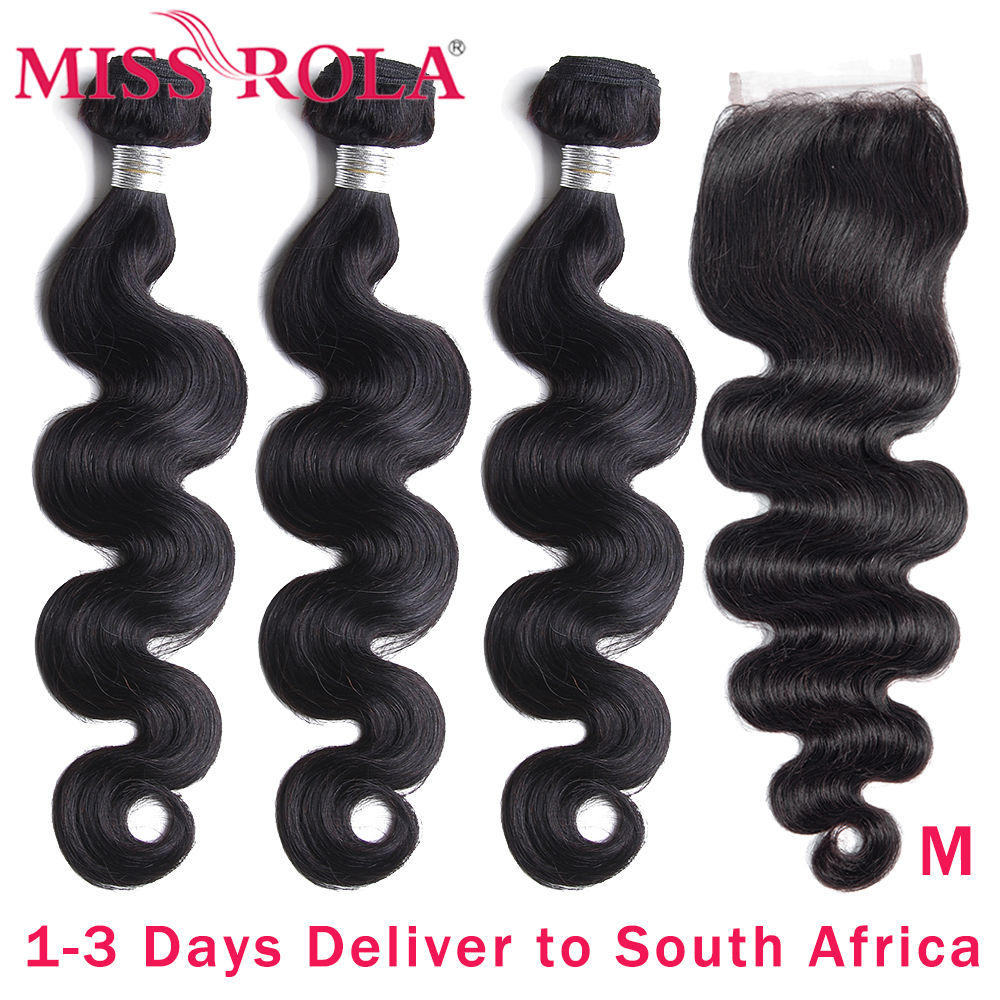 Miss Rola Remy Hair Body Wave Peruvian Hair Weave Bundles With 4*4 Closure Natural Color Human Hair Extension 8-26 Inch