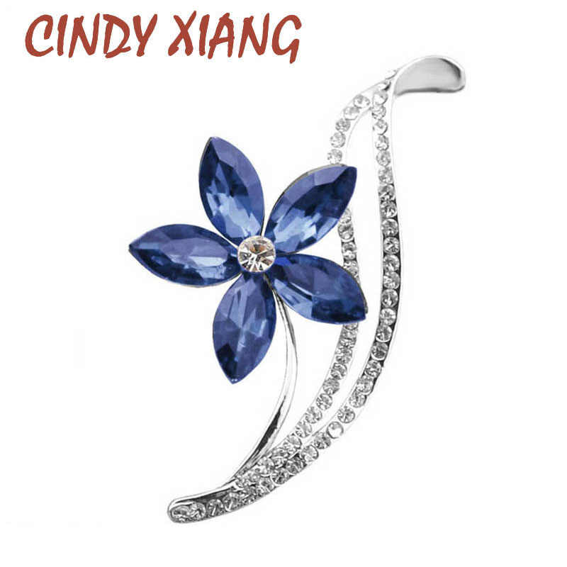 CINDY XIANG Rhinestone Flower Brooches For Women Simple Design Fashion Jewelry Wedding Pin And Brooch Bijouterie Broches Gift