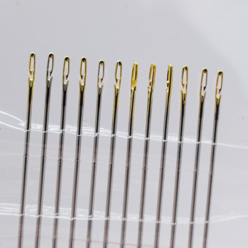 Self-Threading Hand Needles Sewing Needles Home Household Tools Easy Thread Stitching Pins Big Eye Set DIY Needlework Arts /&Crafts 12Pcs//Set