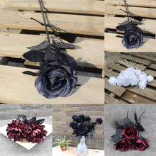 black Artificial flower butterfly orchid silk phalaenopsis for wedding Christams home decoration Shop garden potted fake plants(China)