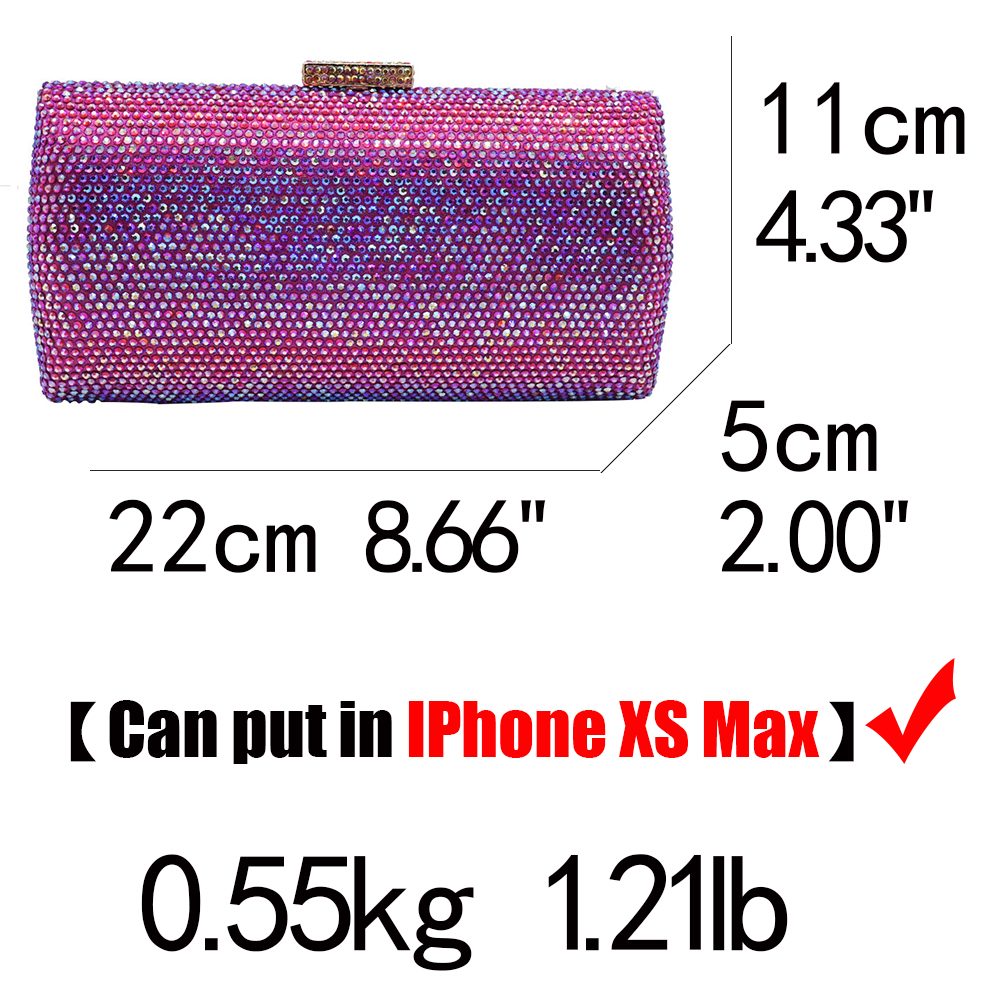 Image 5 - Boutique De FGG Bling Women Fuchsia Evening Bags and Clutches Ladies Small Crystal Purses and Handbags Wedding Party DInner Bag    -