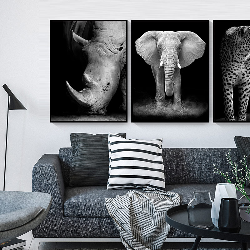 Painting Lion Wall-Pictures Room-Decor Zebra Poster Deer Animal-Art Prints Elephant Black