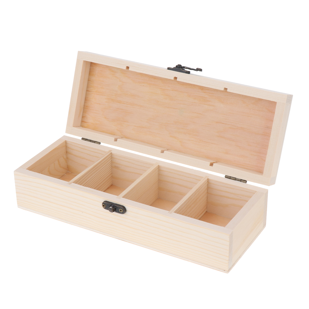 4 Grids Natural Wood Box Wooden Jewelry Organizer Decoupage For Ring Earrings Storage Case