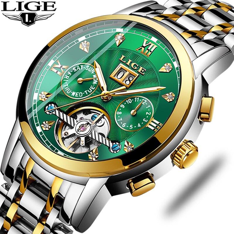 LIGE Original Men Watches Automatic Mechanical Tourbillon Watch Luxury Fashion Stainless Steel Sport Watch Men Relogio Masculino