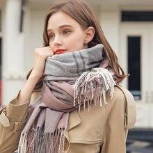 Зимний Русский шерстяной шарф для женщин уплотненные теплые