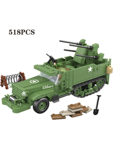 Image 3 - 518個啓発ミリタリー米国M16 mgmc WW2タンク車両モデル兵士ミニフィギュアビルディングブロックレンガのおもちゃ子供のギフト