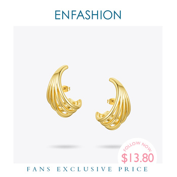 ENFASHION Geometric Lines Stud Earrings For Women Gold Color Metal Conch Earings Fashion Jewelry 2020 Gifts Kolczyki E201182 enfashion double cirlce line earrings gold color earings stainless steel stud earrings for women fashion jewelry oorbellen