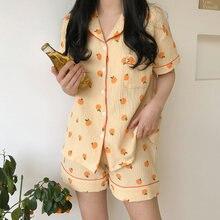 Summer Sweet Orange Print Pajamas Set Women Cute Cartoon Casual Homewear Lapel Short Sleeve Shirt+Shorts Sleepwear Pocket S665