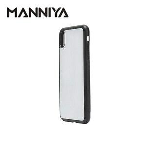 Image 4 - Manniya 2d sublimação em branco borracha caixa do telefone para iphone xs max com inserções de alumínio e cola 10 pçs/lote
