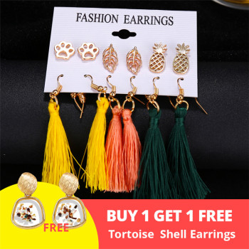 Women Bohemian Earrings Set Big Earrings Jewelry Women Jewelry Metal Color: Bundle 5