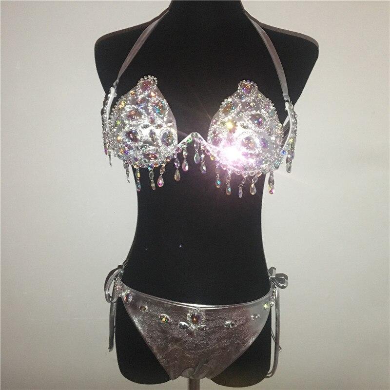 Shiny Big Gems Bikini Set Women Rhinestones Tassels Underwire Bra Sexy Drawstring Panty Bathing Suit Swimsuit Lady Swimwear