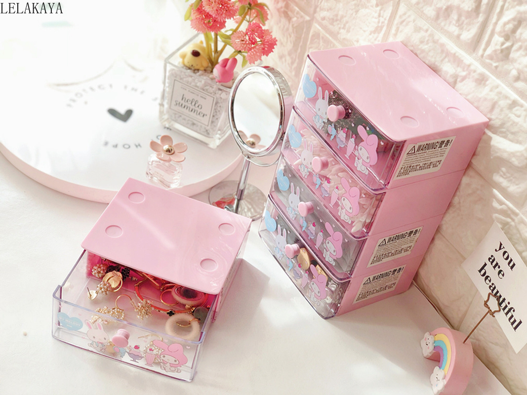 Lovely My Melody Twin Stars Cinnamoroll Dog Storage Cabinet Drawer Cosmetic Makeup Organizer Action Figure Plastic Storage Box