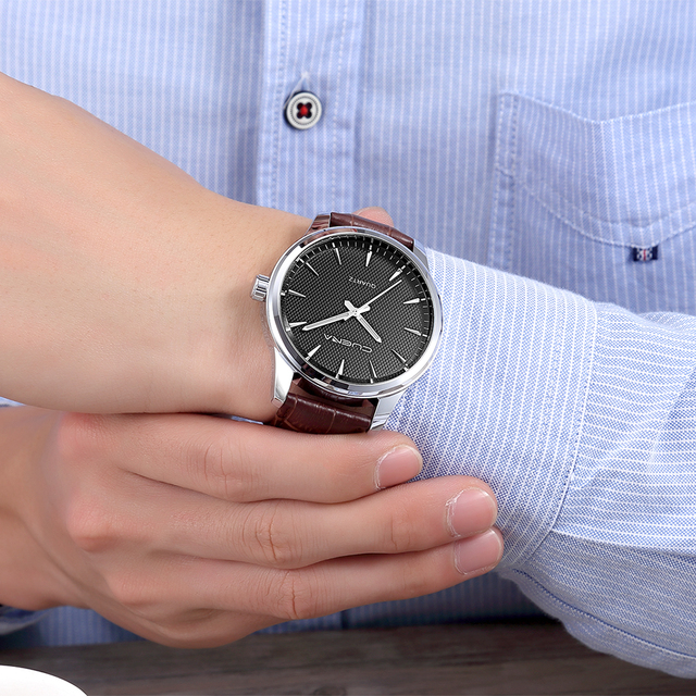 Montre homme CUENA Heißer Verkauf Uhr Männer Mode Leder Band Military Datum Quarz Armbanduhr Uhr Business Uhren reloj hombre