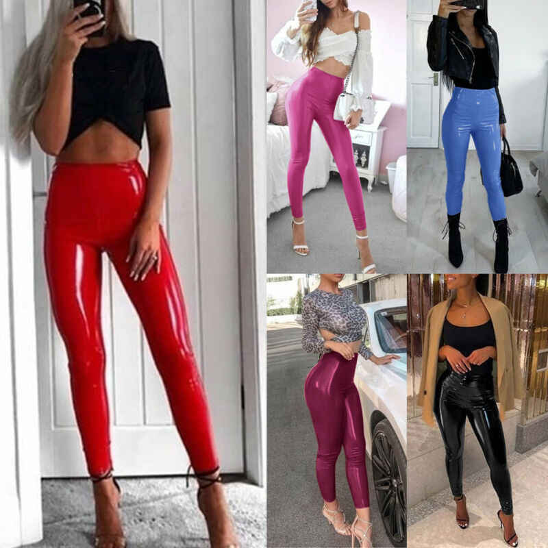 2019 NIEUWE Mode vrouwen Wet Look Stretchy Broek Solid Red Faux Leather Skinny Leggings Potlood Broek