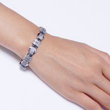 цена на 20.5cm long rectangle Bracelets & Bangles setting white tiny crystal silver plate large party Bracelet for women