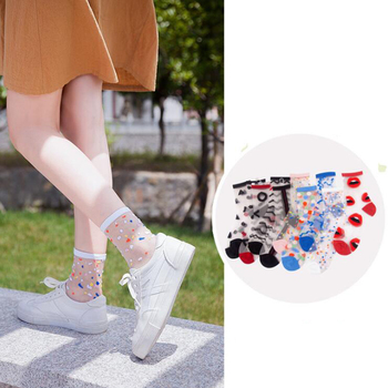 Spring Summer Ultra-thin Glass filament Socks Woman Printing Dots Korean Style Silk Cute Stripe Transparent