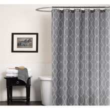 Grey Shower Curtain Polyester Fabric Waterproof Shower Curtain Geometric Lantern Grid Bathroom Curtain 12pcs Hooks