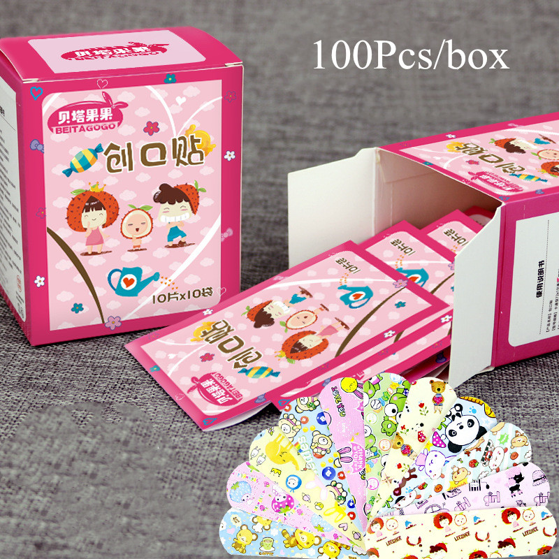 100PC Hemostatic Adhesive Bandages Breathable Cute Cartoon Band Aid Waterproof First Aid Emergency Kit For Kids Adhesive Bandage