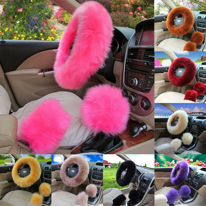 Steering-Wheel-Cover Gear Knob Shifter-Brake Universal Wool Fur Fuzzy Car-Plush 3pcs/Set title=