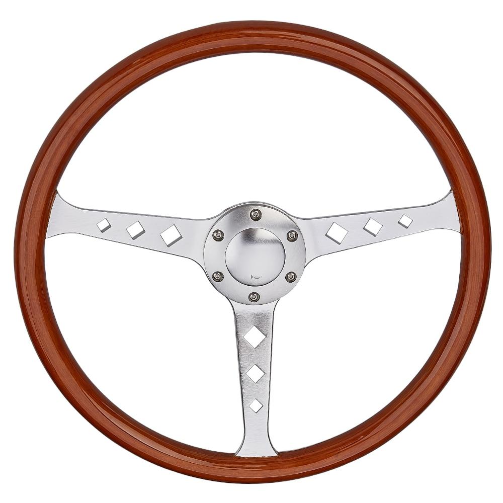 Universal 380mm 15 Classic Wooden Steering Wheel Chrome Silver Spoke Vintage Classic Wood Grain Steering Wheel