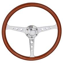 """العالمي 380 مللي متر 15 """"الكلاسيكية خشبية عجلة القيادة الفضة الكروم تكلم خمر الخشب الكلاسيكية الحبوب عجلة القيادة"""