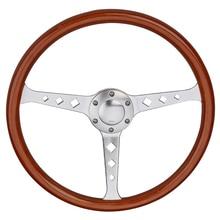 "Universal 380mm 15"" Classic Wooden Steering Wheel Chrome Silver Spoke Vintage Classic Wood Grain Steering Wheel"