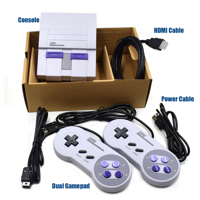 NEW Super HD HDMI Output SNES Retro Classic Handheld Video Game Player TV Mini Game Console Built-in 21 Games with Dual Gamepad 5